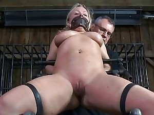Ball-gagged nymph made to submit
