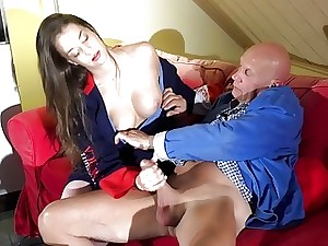Cock-squeezing Young Teen Gets Jizm Face Pussy Hook-up Old Man