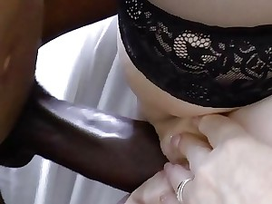 AgedLovE Huge Ebony Dick and Blonde Mature Obese