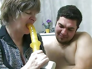 Old nanny Old damsel fellating spunk-pump and have lovemaking with