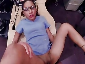 Girl in glasses pawns her cunt for cash