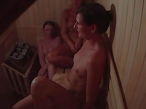 Hidden Web cam Catches 3 Chicks in Sauna