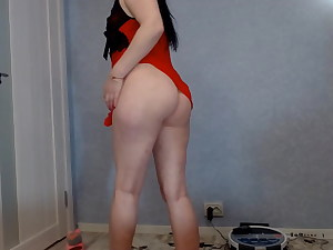 damsel in crimson finishes off from a vibrator