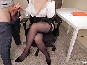 Secretary With Big Tits Gives Handjob on her Stockings and High High-heeled shoes