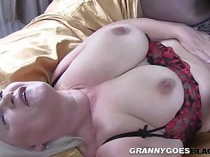 Old grannie sucking black dong